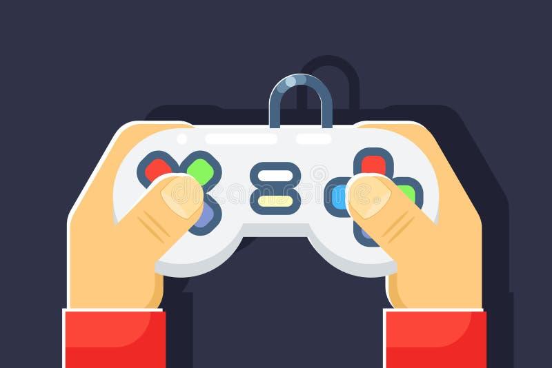 El jugador retro de los juegos de la videoconsola da a regulador de la palanca de mando el ejemplo aislado icono plano del vector ilustración del vector