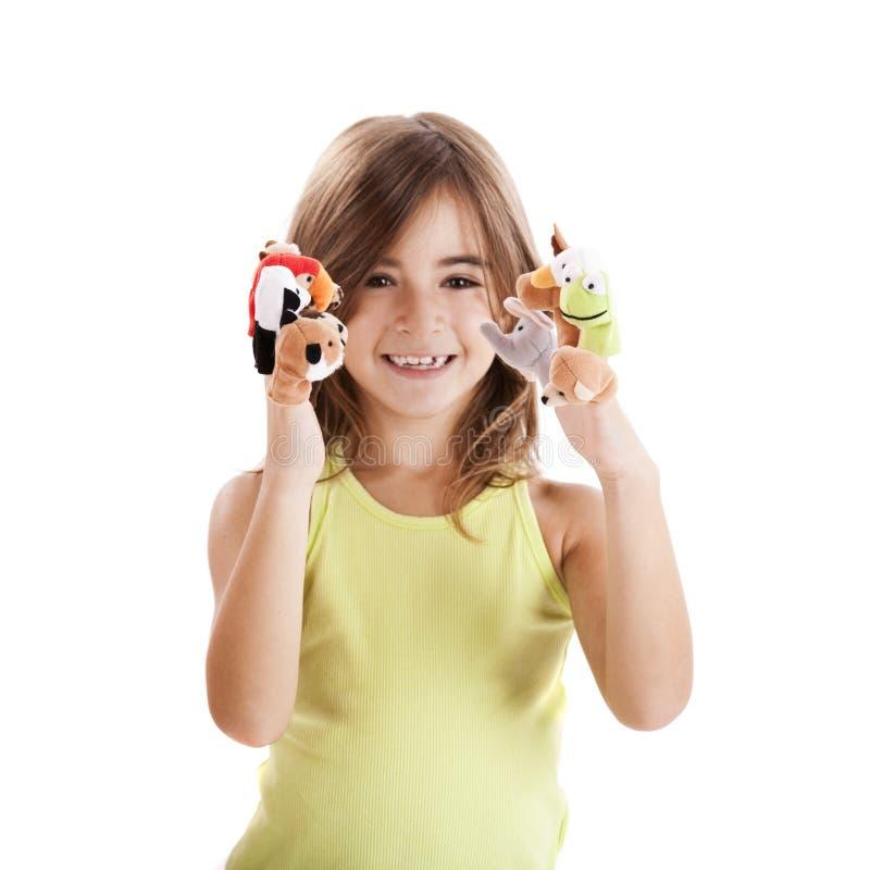 El jugar con las marionetas del dedo fotografía de archivo