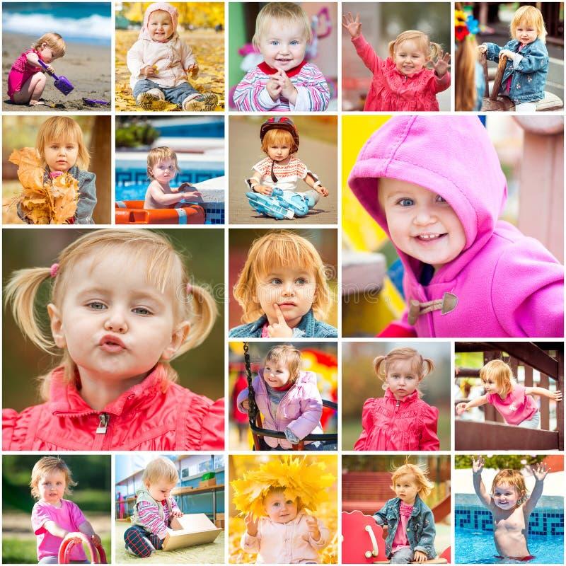 El jugar de los niños del collage foto de archivo libre de regalías