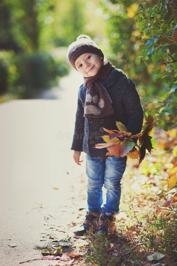 El jugar del muchacho al aire libre con caer se va en paisaje del otoño fotografía de archivo