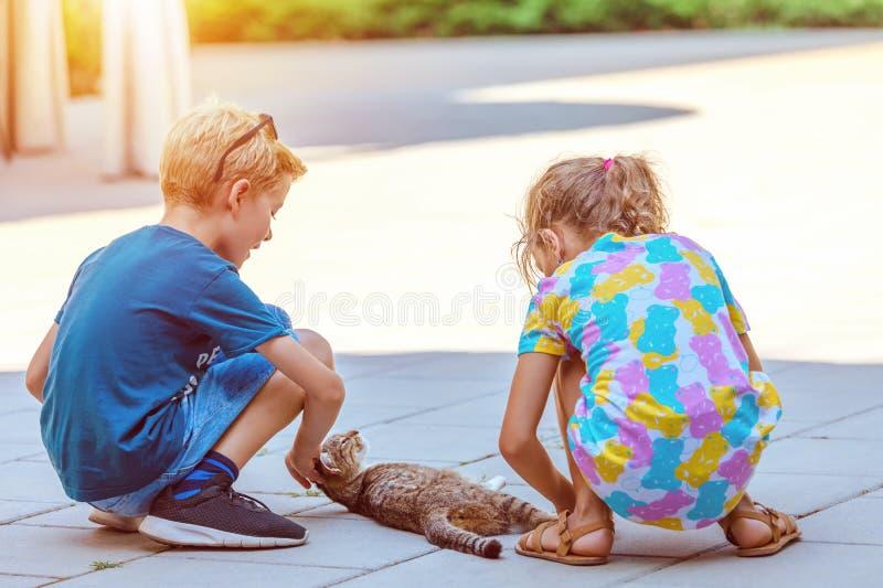 El jugar feliz de dos niños al aire libre con el gato sin hogar foto de archivo