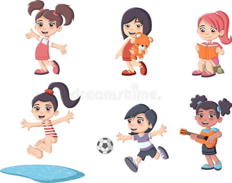 El jugar feliz lindo de las muchachas de la historieta stock de ilustración