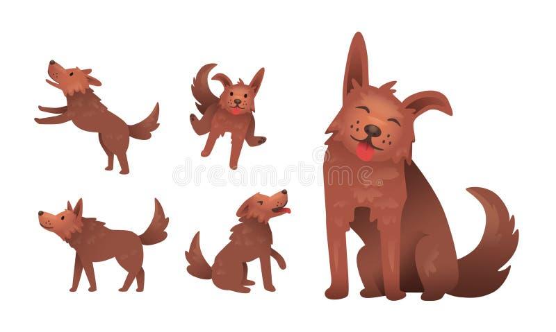 El jugar sonriente divertido del carácter del perro lanudo Sistema de gestos y de actitudes Ejemplo plano del vector Aislado en b libre illustration