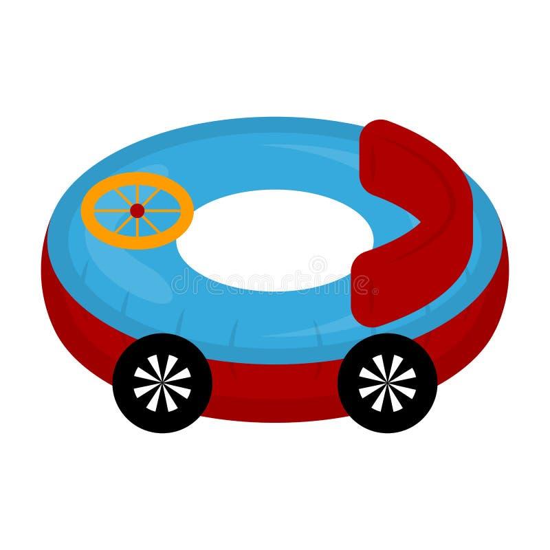 El juguete aislado del coche formó el flotador de la piscina ilustración del vector