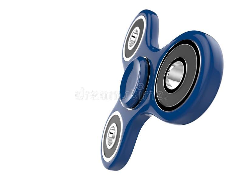 El juguete azul del alivio de tensión del HILANDERO de la persona agitada en blanco aisló el fondo ilustración 3D stock de ilustración