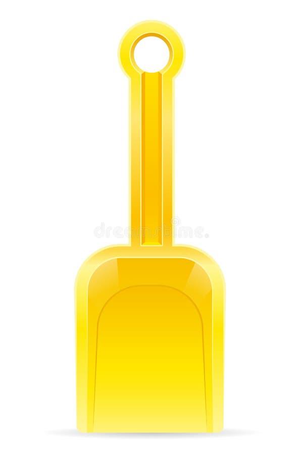 El juguete de la playa de los niños amarillos de la pala para el illustra del vector de la acción de la arena ilustración del vector