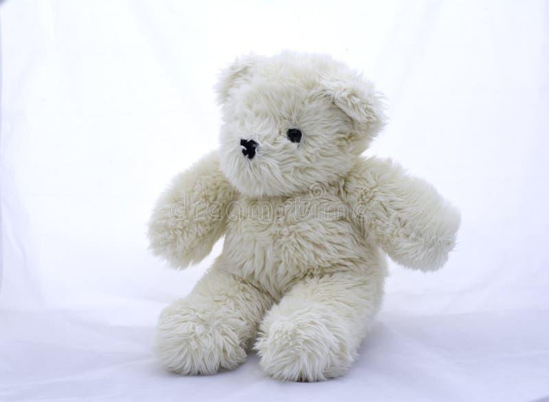El juguete relleno refiere un fondo blanco imagen de archivo