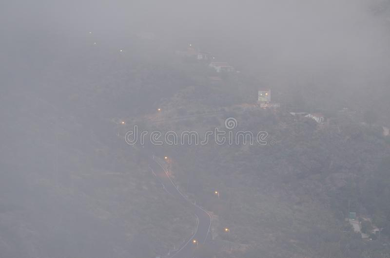El Juncal at sunset in the fog. The Nublo Rural Park. Tejeda. Gran Canaria. Canary Islands. Spain stock photo
