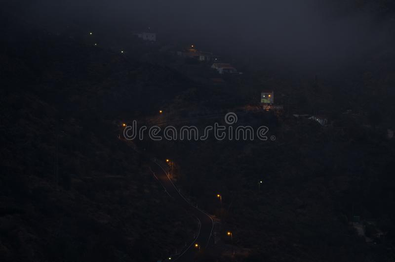 El Juncal at sunset in the fog. The Nublo Rural Park. Tejeda. Gran Canaria. Canary Islands. Spain royalty free stock photo