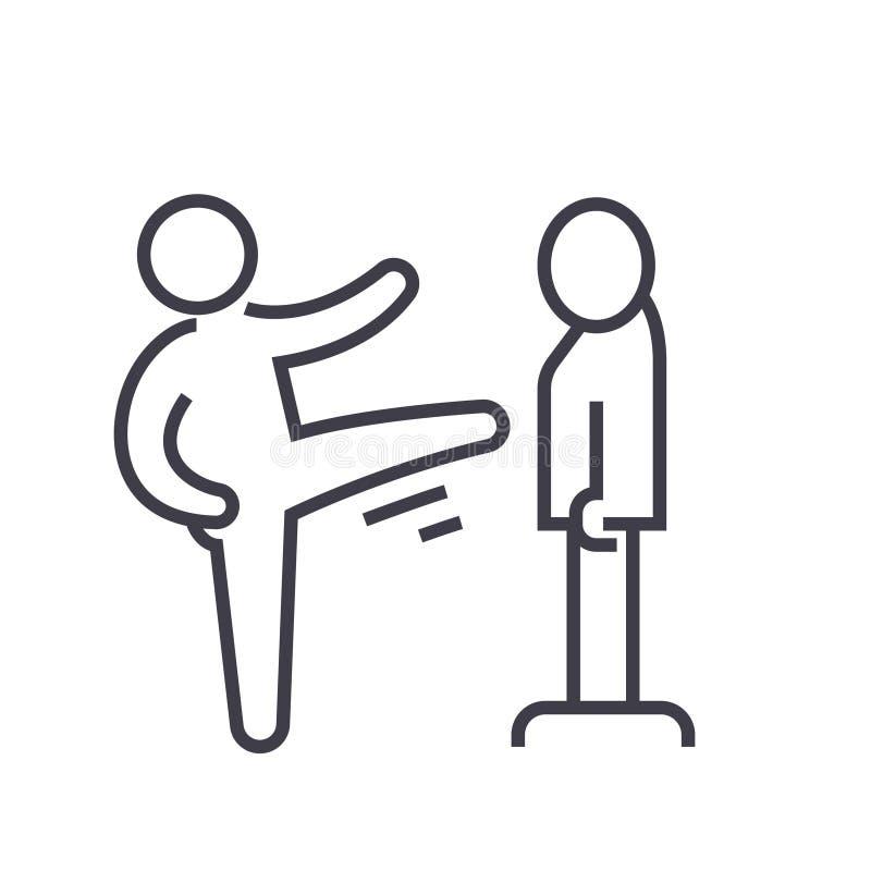 El karate, artes marciales, kung-fu, línea plana ejemplo, vector del Taekwondo del concepto aisló el icono en el fondo blanco stock de ilustración