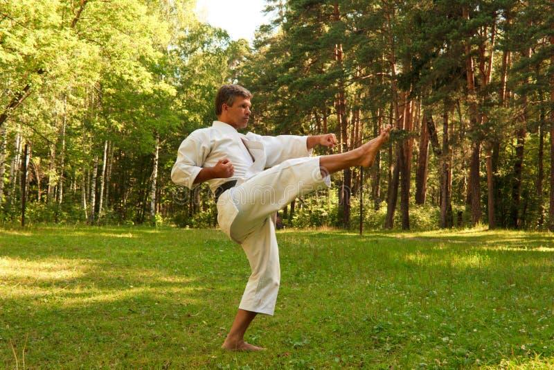 El karate practicante del hombre en el parque fotos de archivo libres de regalías