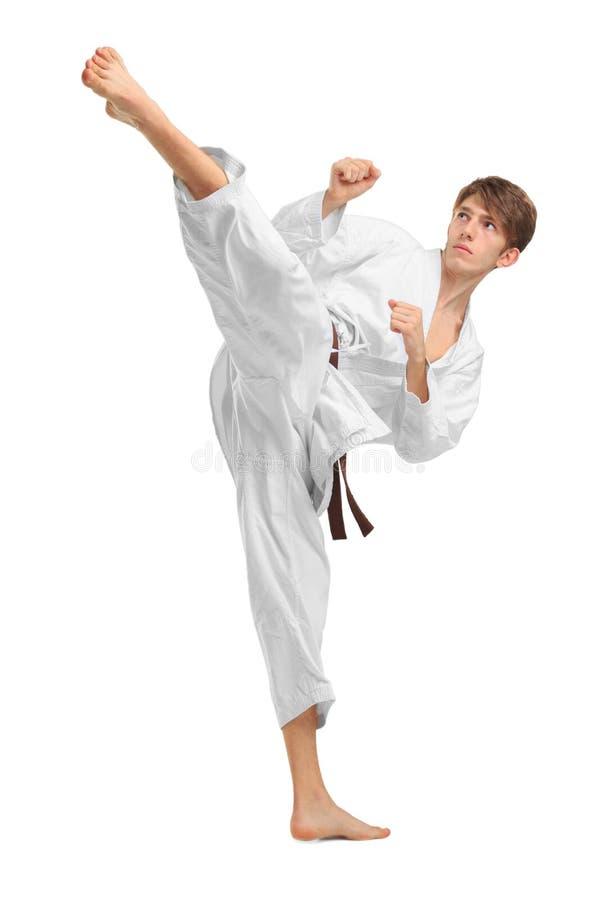 El karatek joven del individuo con la correa marrón en blanco aisló el fondo imágenes de archivo libres de regalías
