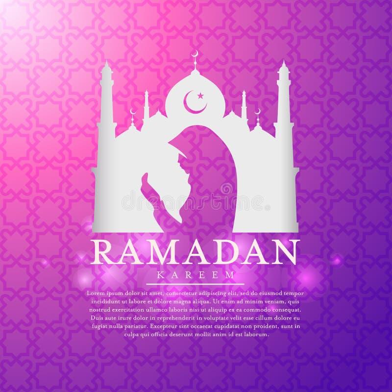 El kareem del Ramadán con las siluetas blancas de las mezquitas y el vector de rogación del hombre musulmán diseñan stock de ilustración