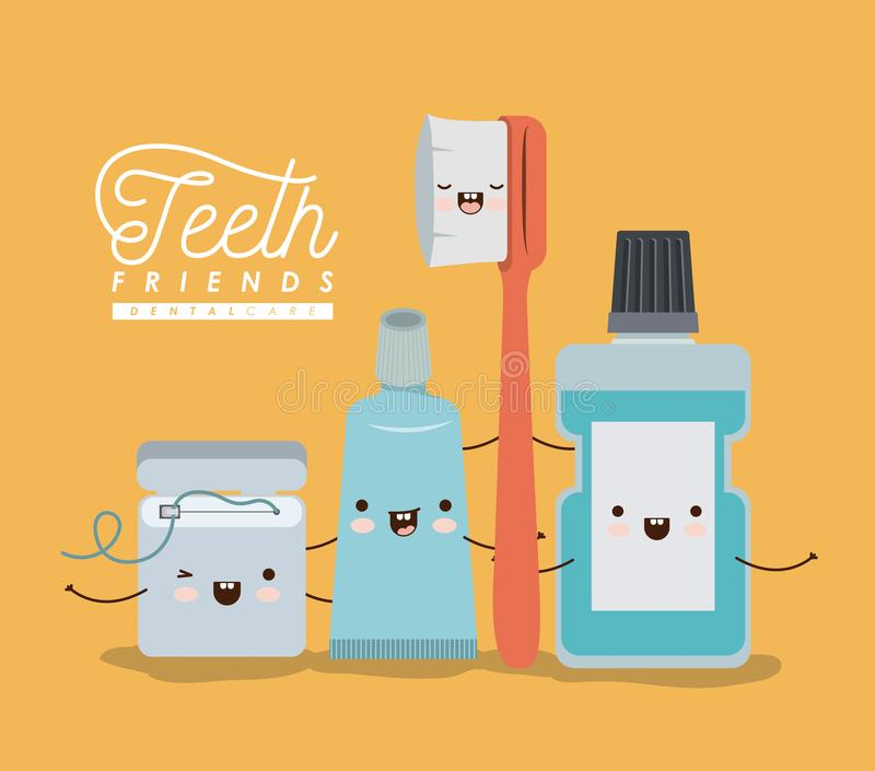 El kawaii del cuidado dental de los amigos de los dientes fijó con diversa expresión en el cartel del color libre illustration