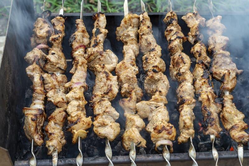 El kebab apetitoso de la carne fresca con la corteza quemada se fríe en la parrilla Comida deliciosa en una comida campestre Shas imagen de archivo libre de regalías