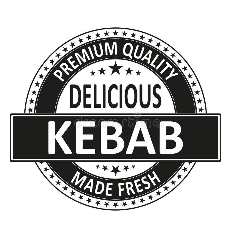 El kebab delicioso de la calidad superior hizo el sello fresco de la insignia ilustración del vector
