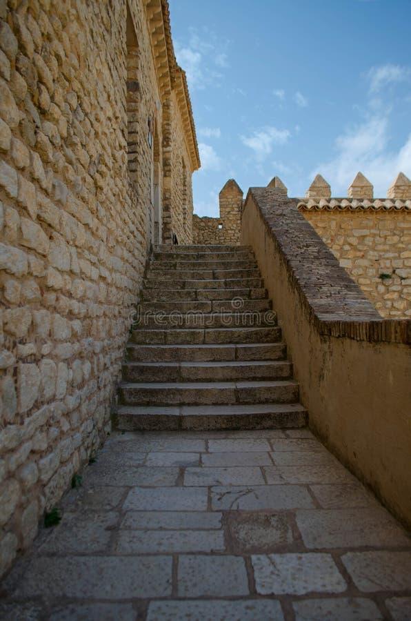 EL Kef& x27; escaleras medievales de la fortaleza: Kasbah foto de archivo