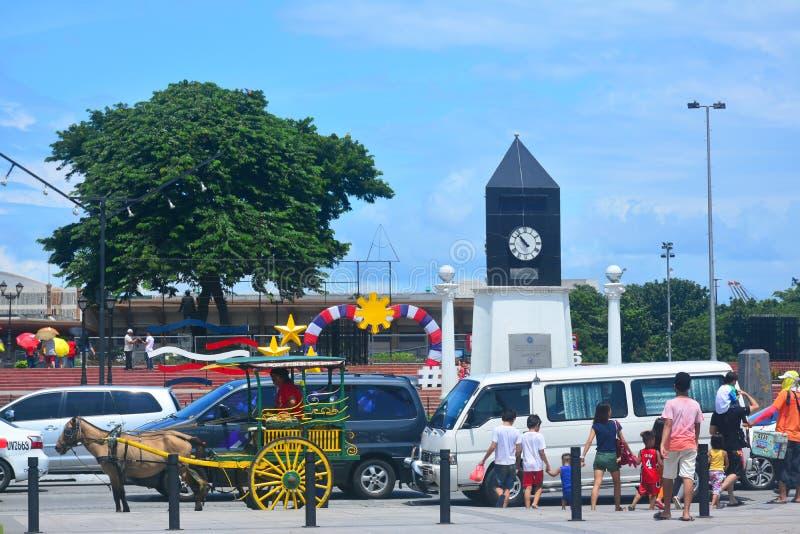 El kilómetro de Manila pone a cero adentro Manila, Filipinas imagenes de archivo