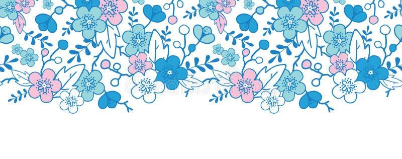 El kimono azul y rosado florece inconsútil horizontal stock de ilustración