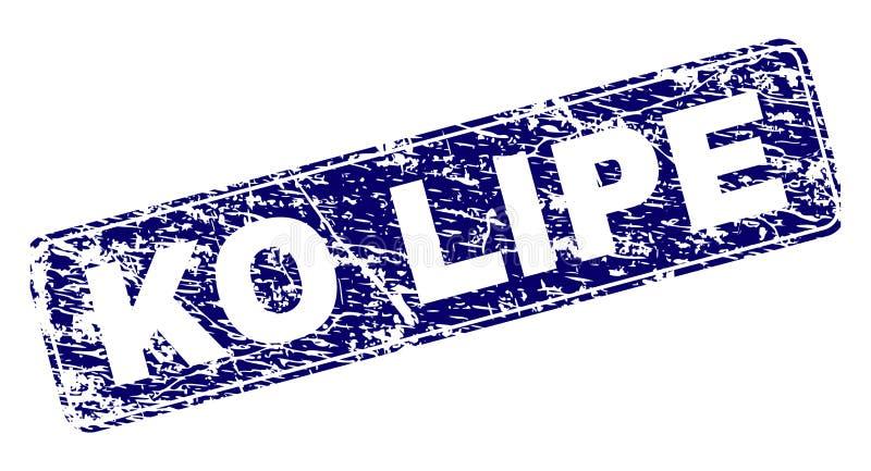 El knock-out LIPE del Grunge enmarcó el sello redondeado del rectángulo stock de ilustración