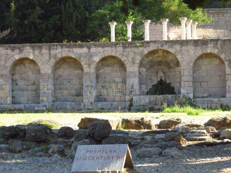 El Kos Asklepion Sus orígenes se rastrean a 400 A.C. foto de archivo