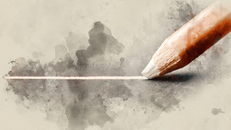 El lápiz blanco dibuja una línea en el primer de papel negro imagen de archivo