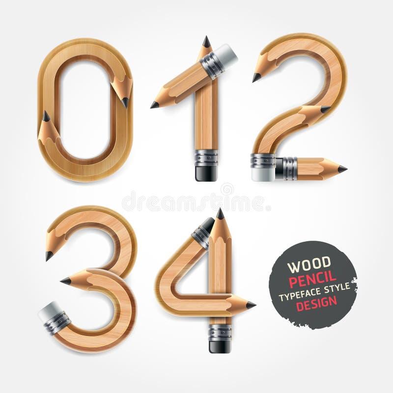 El lápiz de madera numera estilo del alfabeto. ilustración del vector
