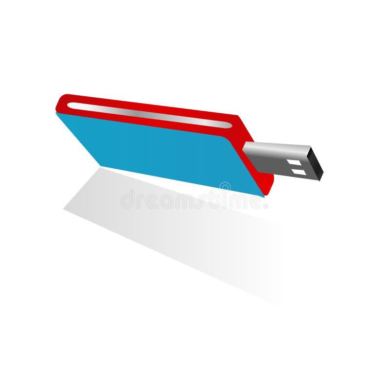 el lápiz de memoria azul del Usb 3d con rojo y el lado de la plata diseñan memoria aislado en el fondo blanco libre illustration