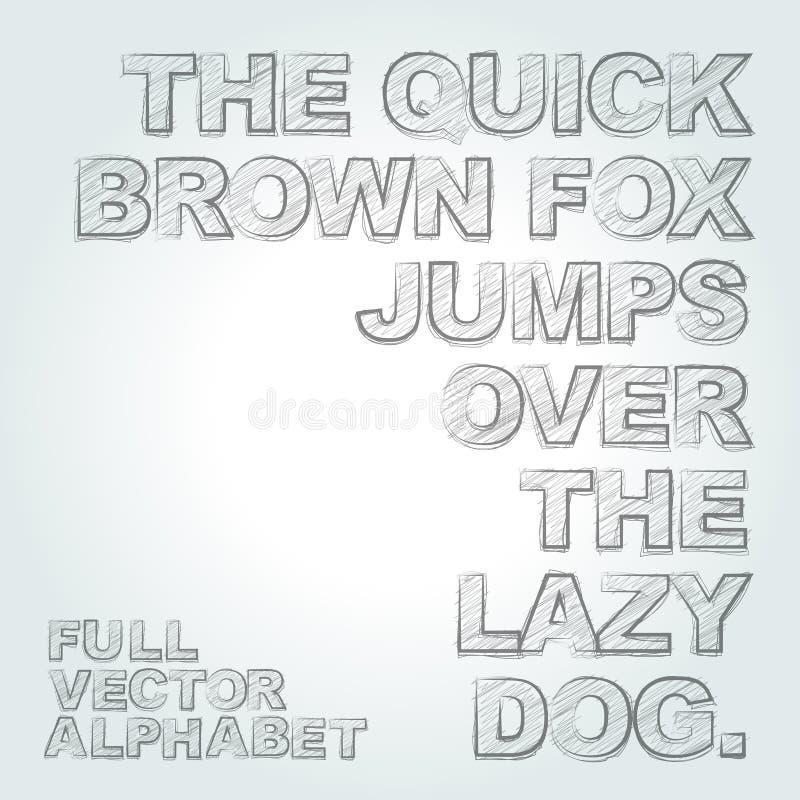 El lápiz del vector bosquejó alfabeto stock de ilustración
