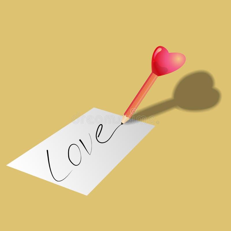 El lápiz en forma de corazón escribe la palabra fotografía de archivo libre de regalías