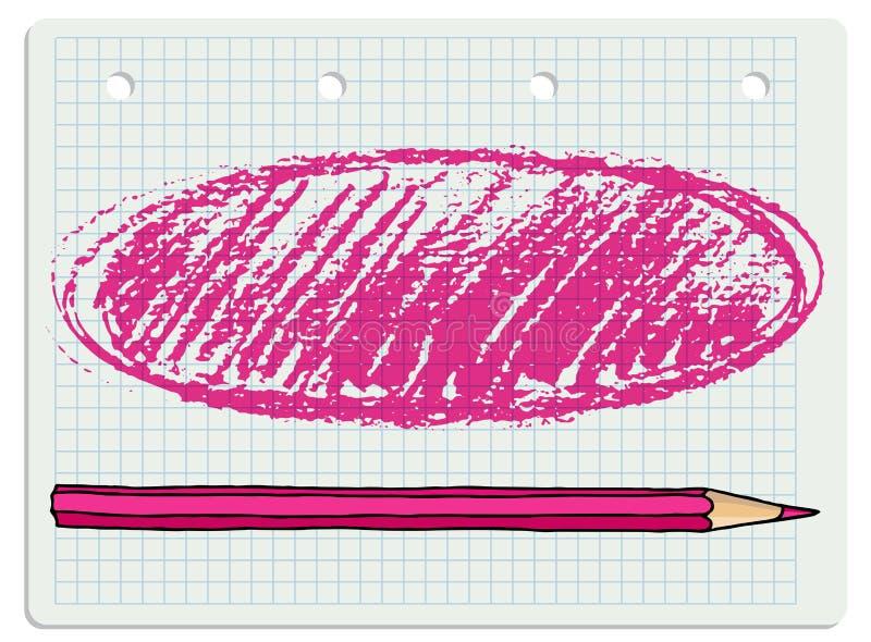 El lápiz frota ligeramente el marco en blanco libre illustration