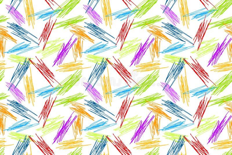 El lápiz garabatea el fondo inconsútil del arco iris imagen de archivo