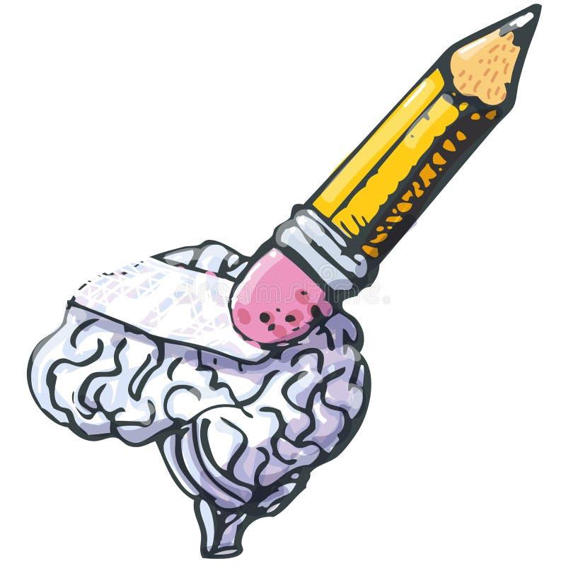 El lápiz limpia hacia fuera una pérdida del cerebro y de memoria stock de ilustración