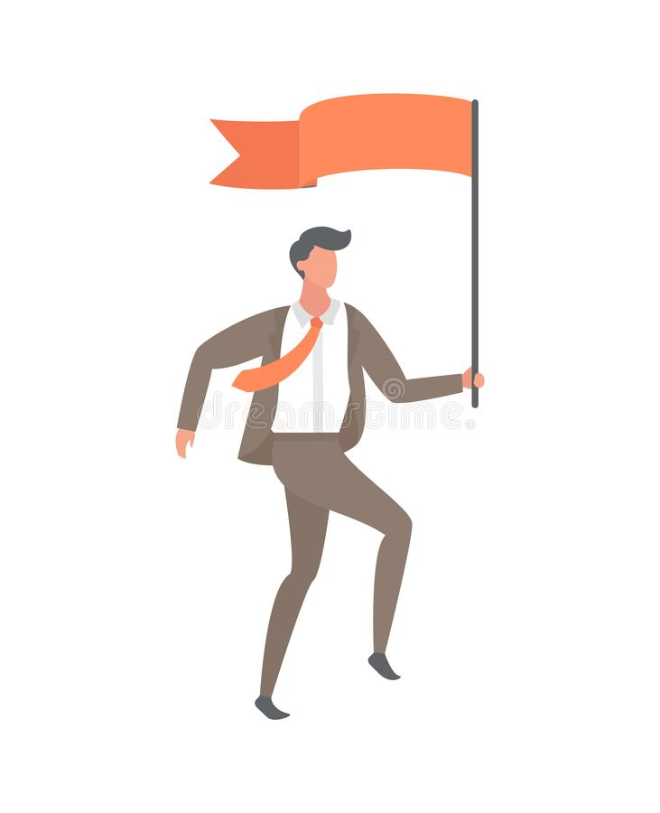 El líder con vector del estilo de la historieta de la bandera roja aisló stock de ilustración