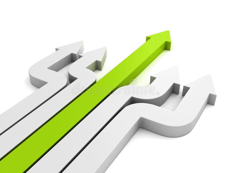 El líder verde de la flecha remite la dirección Concepto de la dirección stock de ilustración