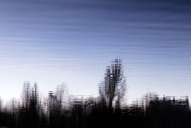 El líquido de la noche del lago se nubla la reflexión abstracta de las siluetas de los árboles foto de archivo libre de regalías