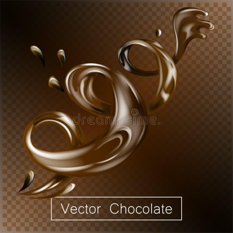 El líquido del chocolate el salpicar y del giro para el diseño utiliza el ejemplo 3d libre illustration