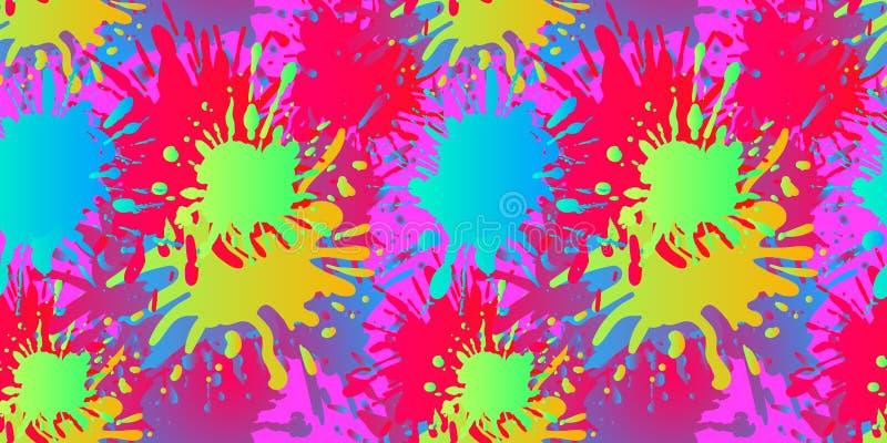 El líquido del vector forma el modelo inconsútil, salpicaduras de la pintura, fondo flúido, colores brillantes libre illustration