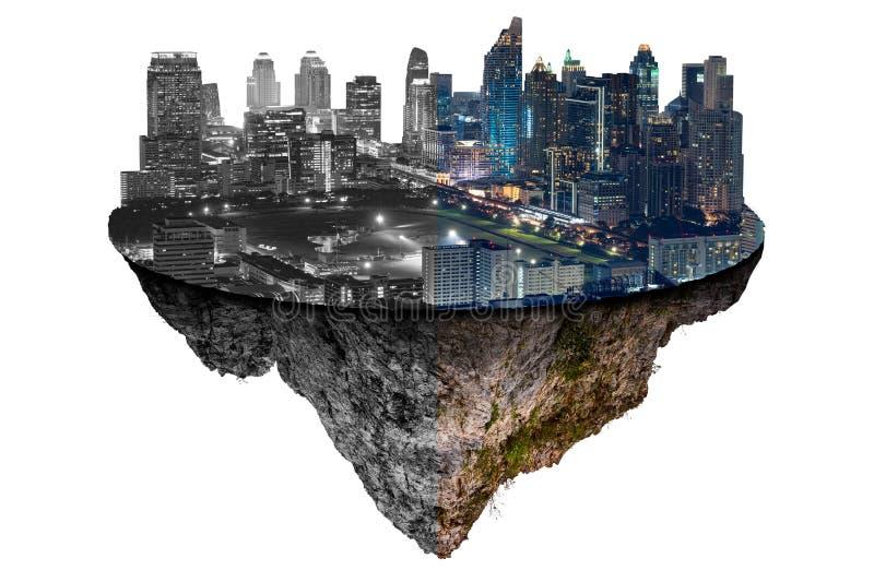 El la imagen del aislante de la isla futurista del paisaje urbano que muestra una mitad de colores y blanco y negro el concepto d imagen de archivo