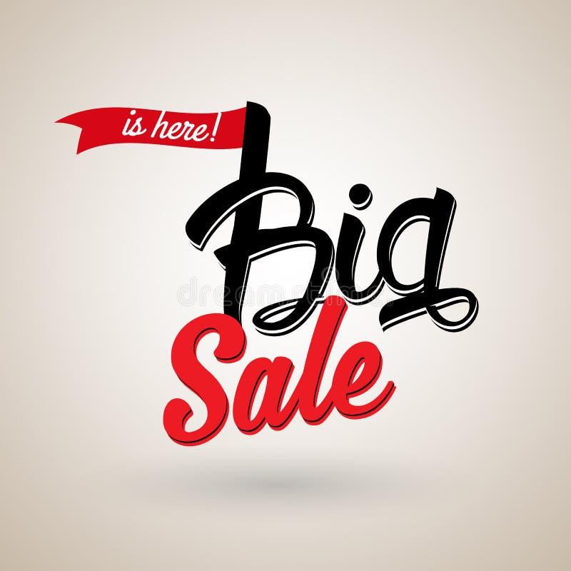 El ` la venta grande está aquí texto caligráfico del ` con la cinta roja libre illustration