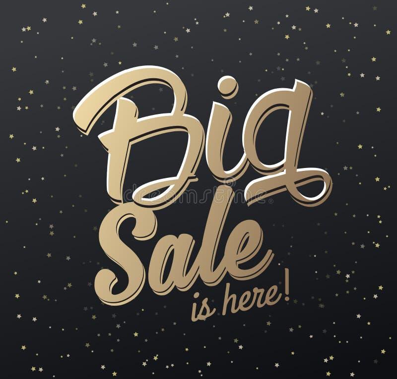 El ` la venta grande está aquí texto caligráfico del ` con las estrellas ilustración del vector
