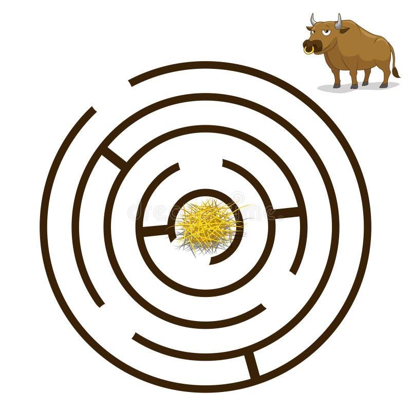 El laberinto del juego encuentra un ejemplo del vector del toro de la manera libre illustration