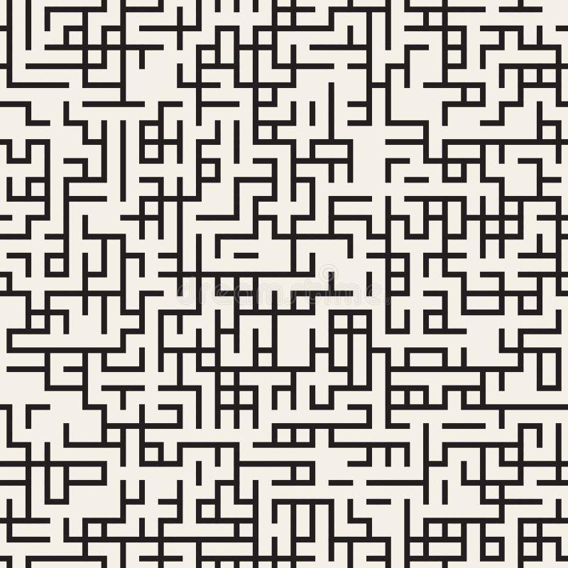 El laberinto irregular blanco y negro inconsútil del vector alinea el modelo ilustración del vector