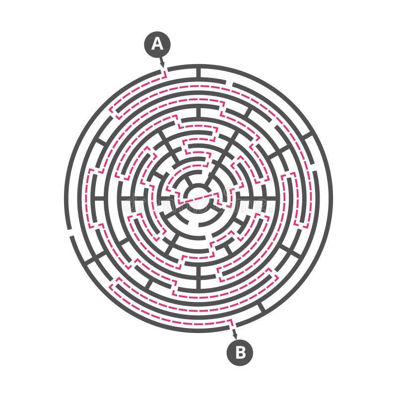 El laberinto redondo embroma el juego Plantilla del vector del rompecabezas del laberinto ilustración del vector