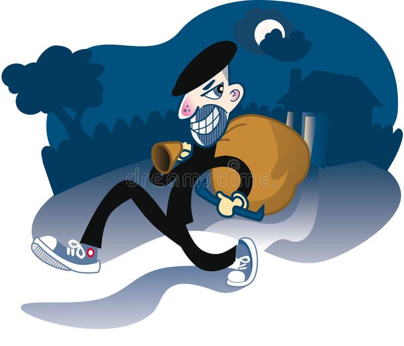 El ladrón casero recorre apagado con el botín ilustración del vector