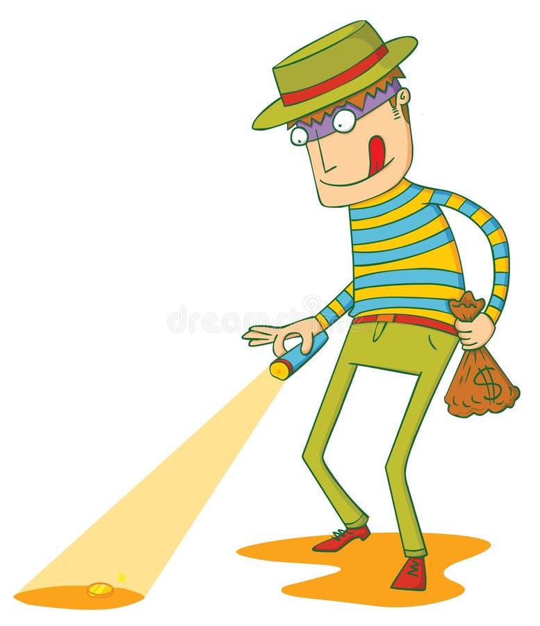 El ladrón codicioso ilustración del vector