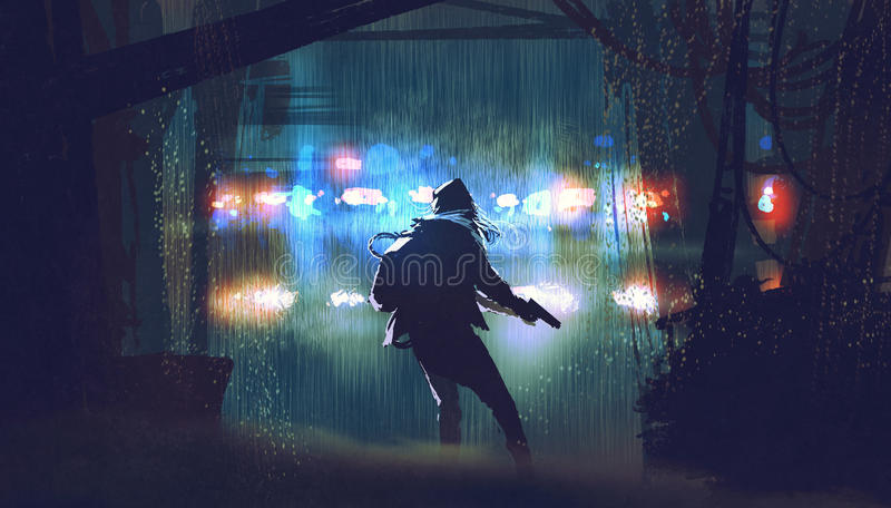 El ladrón con el arma que es cogido por la policía ilustración del vector