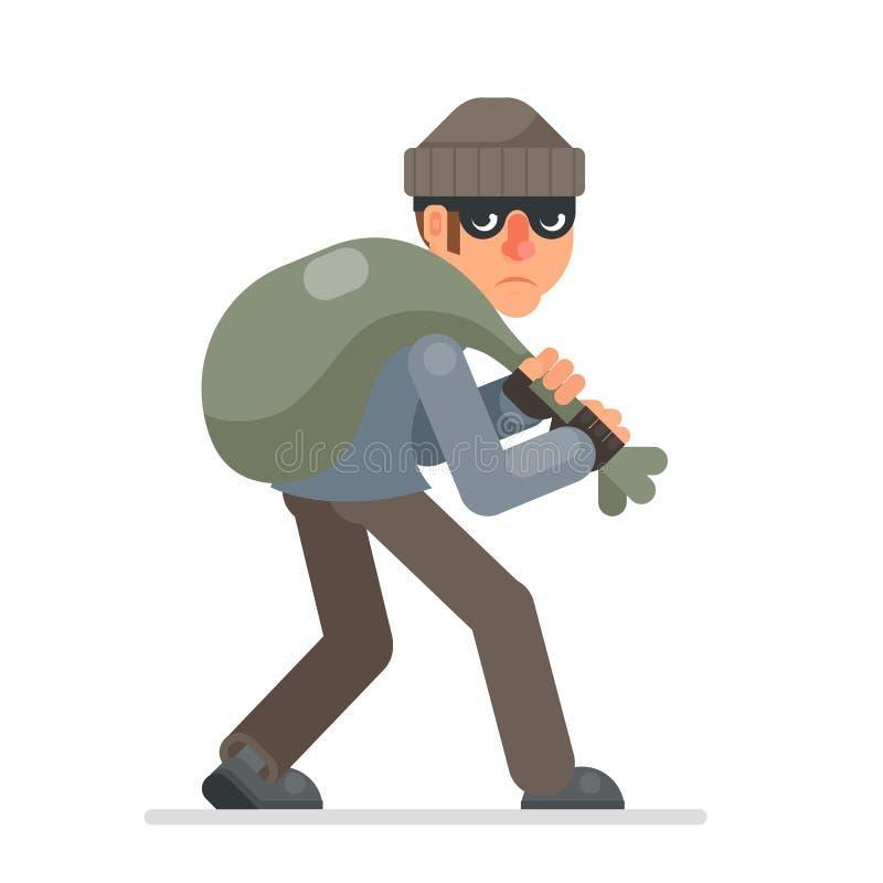 El ladrón de casas con el bolso del botín se escabulle lejos codicioso vector aislado diseño plano bulgar malvado del carácter de ilustración del vector