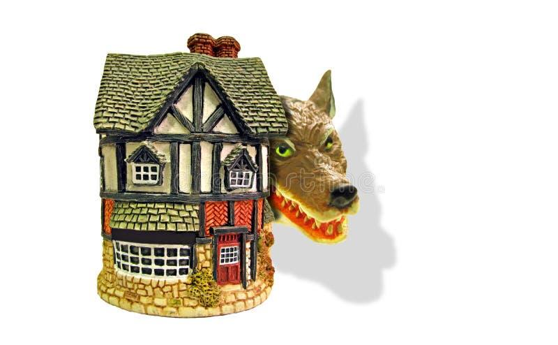 El ladrón despredador del lobo del peligro de la hipoteca roba la seguridad de la seguridad de la alarma del guardia casero segur foto de archivo libre de regalías