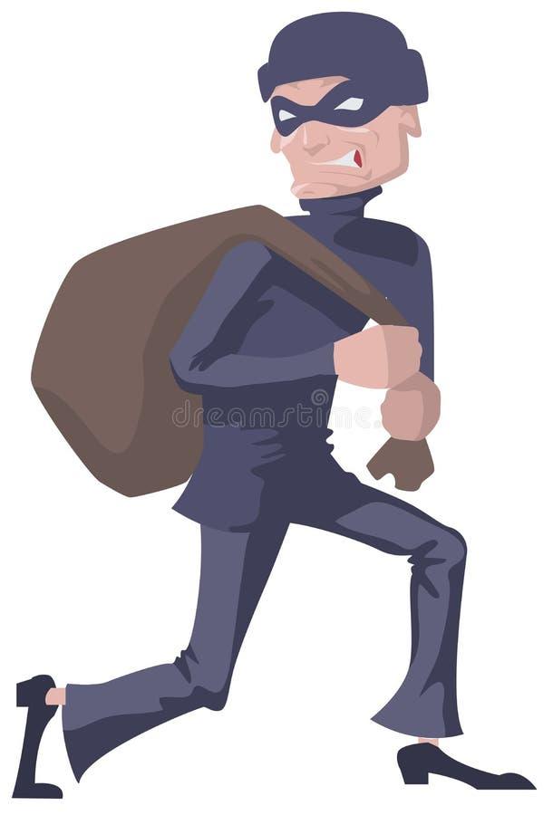 El ladrón en una máscara lleva el bolso Ladrón del hombre ilustración del vector